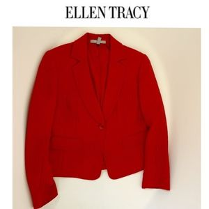Ellen Tracy Red Silk Blazer – 14